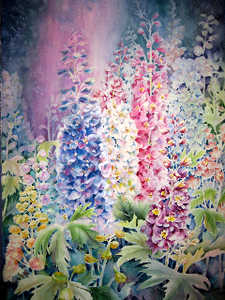 Delphiniums watercolor by Sally Bly