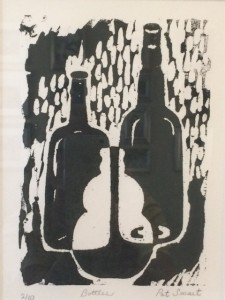 Bottles Woodblock Print by Pat Smart